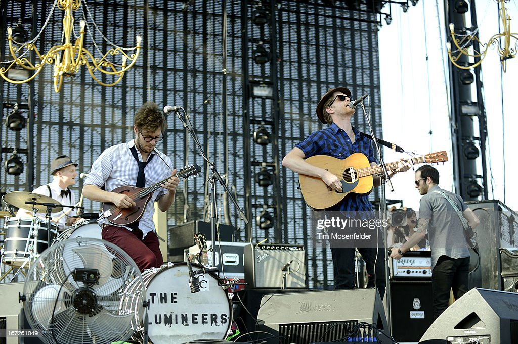Jeremiah Fraites, Stelth Ulvang, Wesley Schultz, and Ben Wahamaki of The Lumineers perform as part of the 2013 Coachella Valley Music & Arts Festival at the Empire Polo Field on April 21, 2013 in Indio, California.