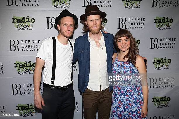 Jeremiah Fraites Wesley Schultz and Neyla Pekarek of the band The Lumineers pose at the Radio 1045 9th Birthday Celebration at the BBT Pavilion June...