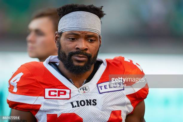 Jeremiah Johnson of the BC Lions on the sideline during the game between the BC Lions and the Saskatchewan Roughriders at Mosaic Stadium on August 13...