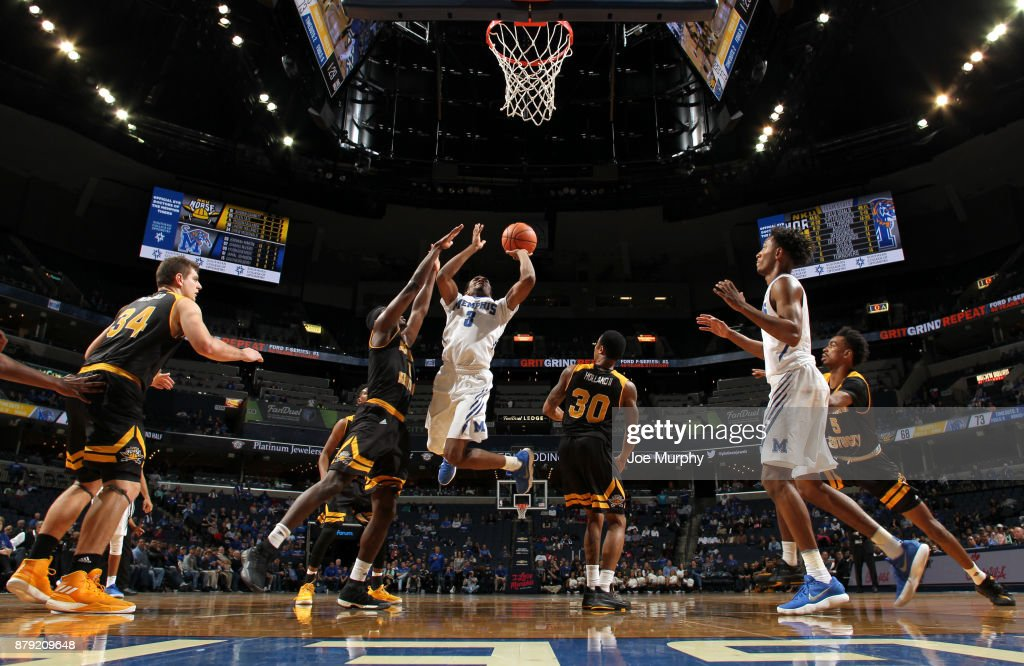 Jeremiah Martin #3 of the Memphis Tigers drives to the basket against Jordan Garnett #1 of the Northern Kentucky Norse on November 25, 2017 at FedExForum in Memphis, Tennessee. Memphis defeated Northern Kentucky 76-74.