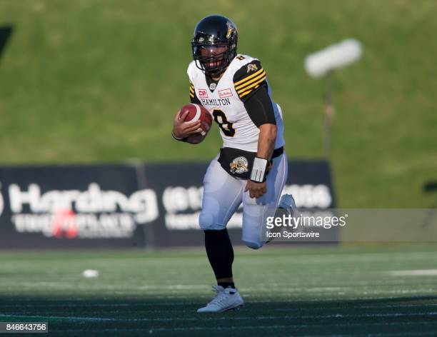 Jeremiah Masoli of the Hamilton TigerCats in Canadian Football League Action at TD Place Stadium in Ottawa Canada on Saturday September 9 2017 The...