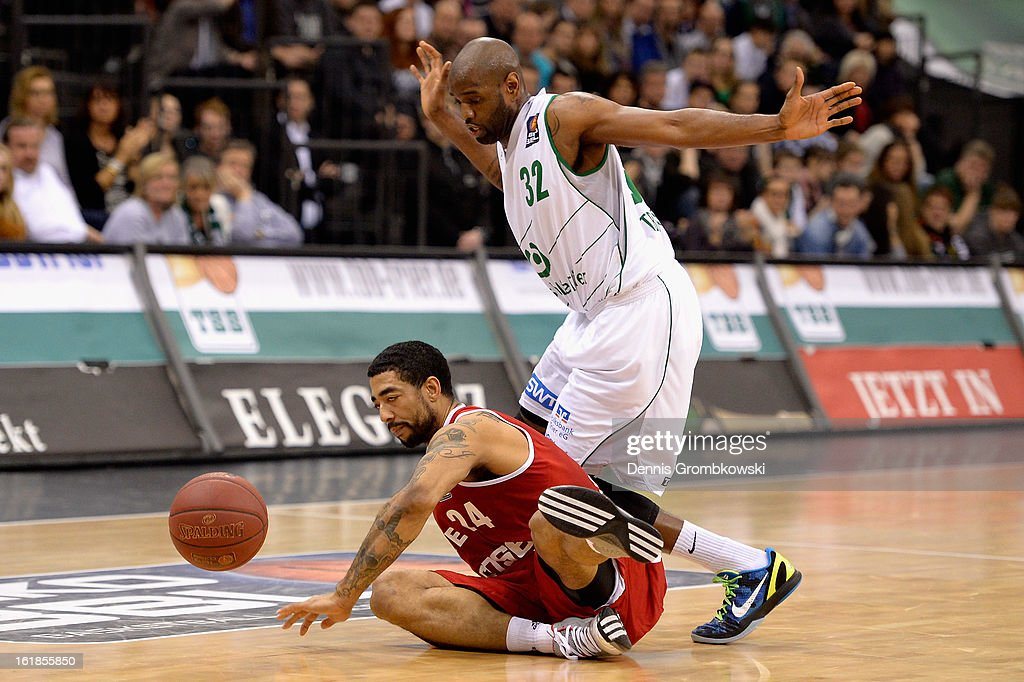 Jeremiah Massey of Brose Baskets and Jermaine Bucknor of Trier battle for the ball during the Beko BBL Basketball Bundesliga match between TBB Trier and Brose Baskets on February 17, 2013 in Trier, Germany.