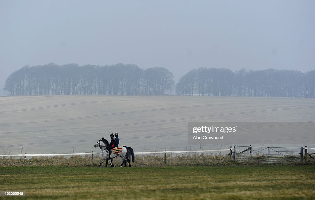 Jeremiah McGrath riding Simonsig (L) and David Bass riding Grandouet (R) make their way back to the stables after galloping on Lambourn gallops on March 04, 2013 in Lambourn, England.