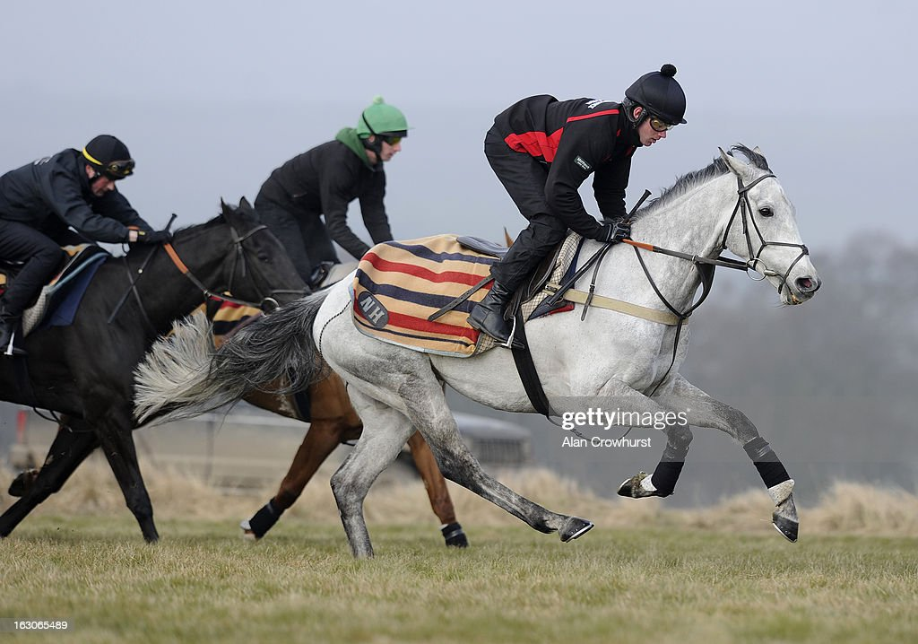 Jeremiah McGrath riding Simonsig (R) make their way along the gallop on Lambourn gallops on March 04, 2013 in Lambourn, England.