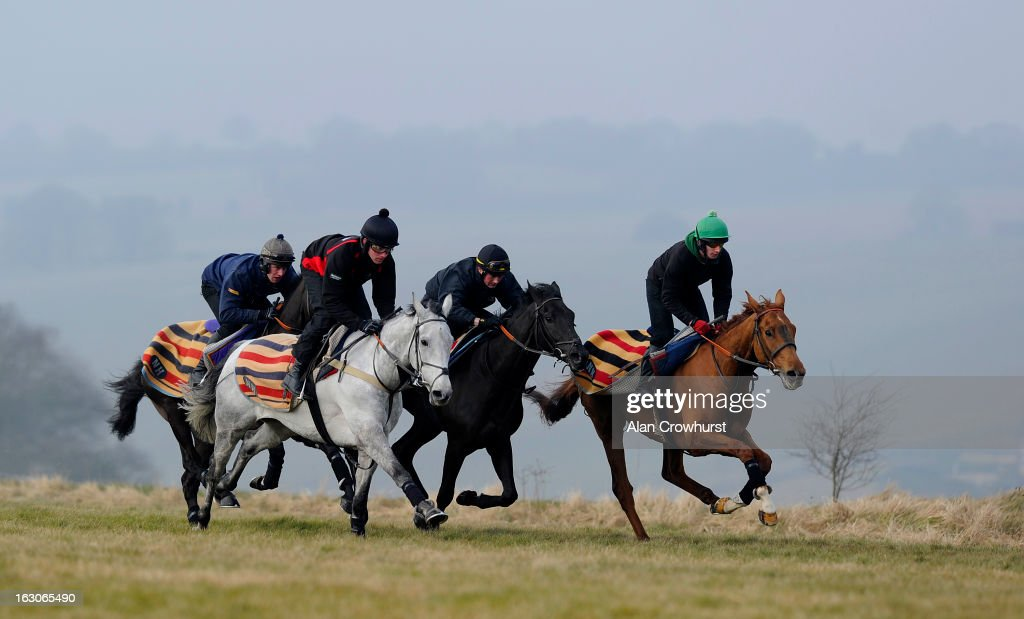 Jeremiah McGrath riding Simonsig (2L) make their way along the gallop on Lambourn gallops on March 04, 2013 in Lambourn, England.