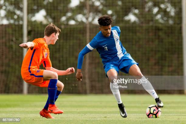 Jeremiah St Juste Fredrik Lassas during the friendly match of national teams U21 of The Netherlands vs Finland in Pinatar Arena Murcia SPAIN March...