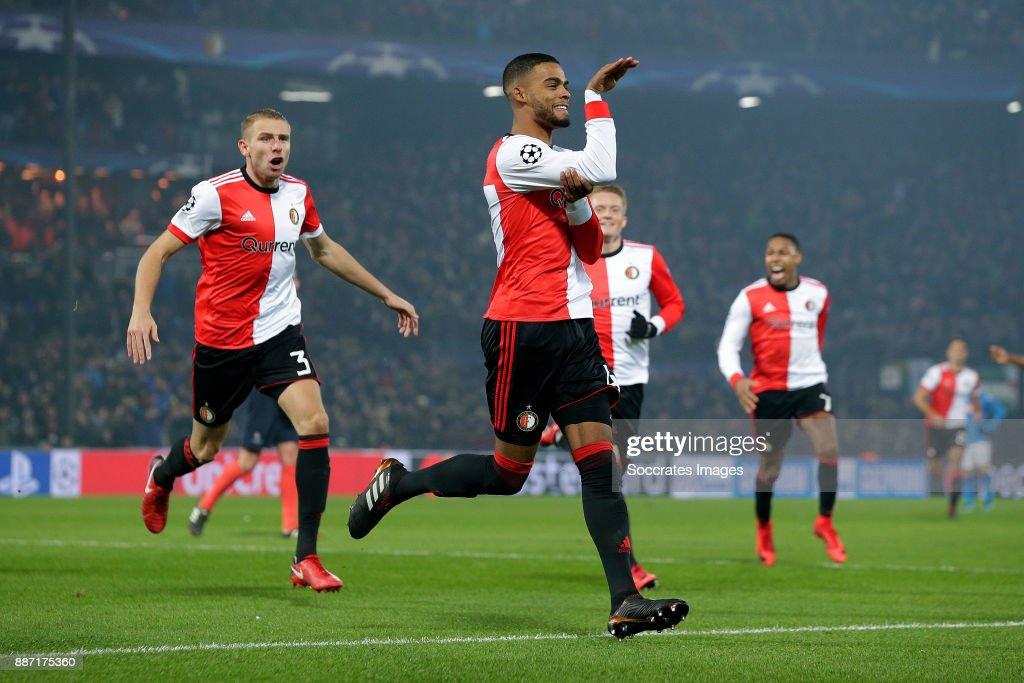 Jeremiah St Juste of Feyenoord celebrates 2-1 during the UEFA Champions League match between Feyenoord v Napoli at the Feyenoord Stadium on December 6, 2017 in Rotterdam Netherlands
