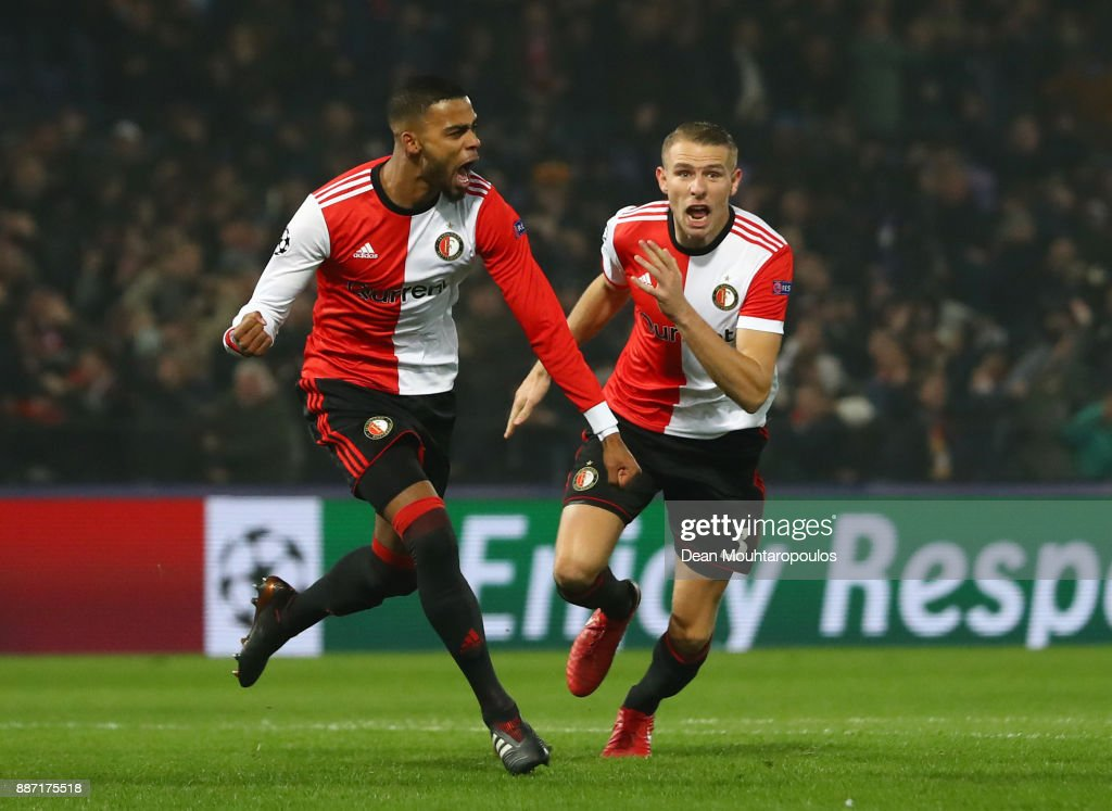 Jeremiah St. Juste of Feyenoord celebrates after scoring his sides second goal during the UEFA Champions League group F match between Feyenoord and SSC Napoli at Feijenoord Stadion on December 6, 2017 in Rotterdam, Netherlands.