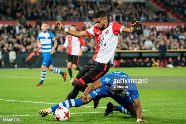 Jeremiah St Juste of Feyenoord Kingsley Ehizibue of PEC Zwolle during the Dutch Eredivisie match between Feyenoord Rotterdam and PEC Zwolle at the...
