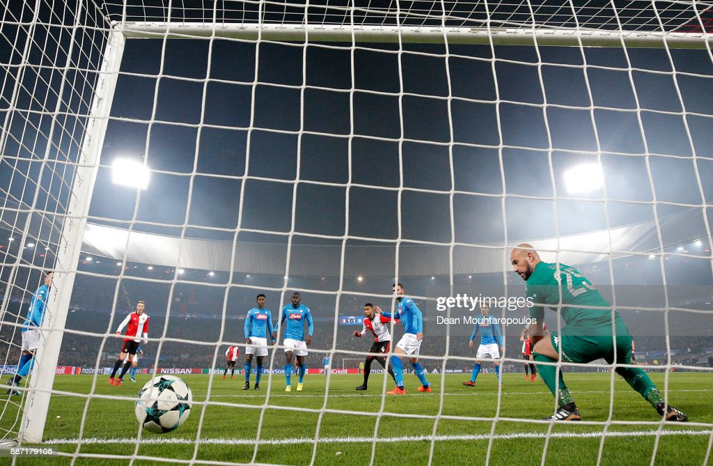 Jeremiah St. Juste of Feyenoord scores his sides second goal during the UEFA Champions League group F match between Feyenoord and SSC Napoli at Feijenoord Stadion on December 6, 2017 in Rotterdam, Netherlands.