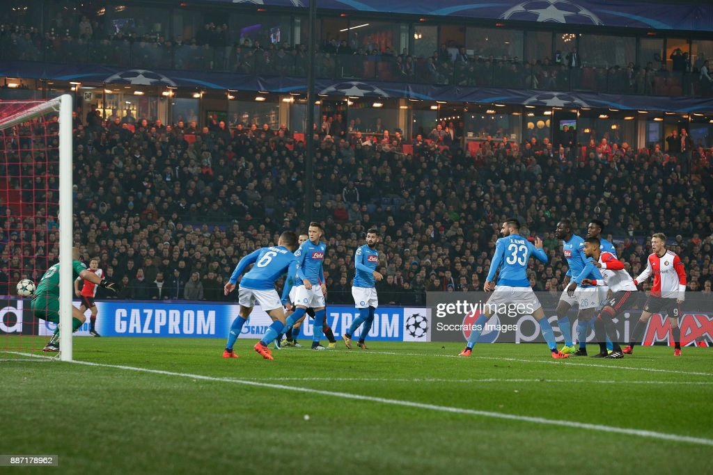 Jeremiah St Juste of Feyenoord scores the third goal to make it 2-1 during the UEFA Champions League match between Feyenoord v Napoli at the Feyenoord Stadium on December 6, 2017 in Rotterdam Netherlands