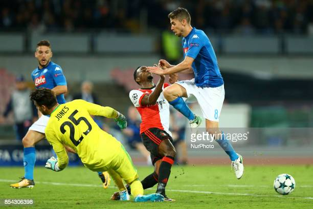 Jeremiah St Juste of Feyenoord tackling on Jorginho of Napoli during the UEFA Champions League group F match between SSC Napoli and Feyenoord at...