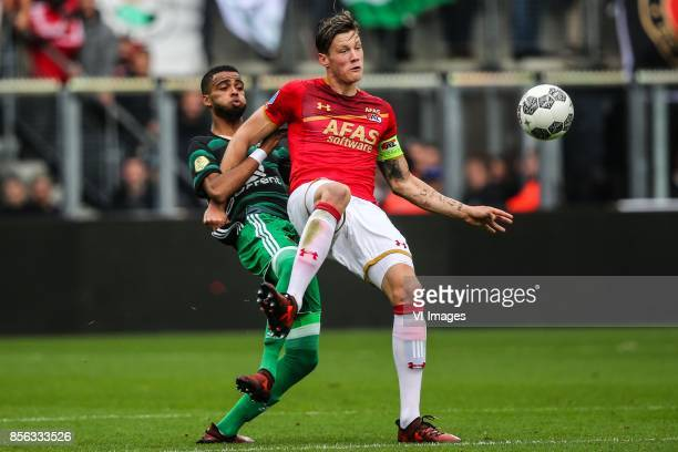 Jeremiah St Juste of Feyenoord Wout Weghorst of AZ during the Dutch Eredivisie match between AZ Alkmaar and Feyenoord Rotterdam at AFAS stadium on...