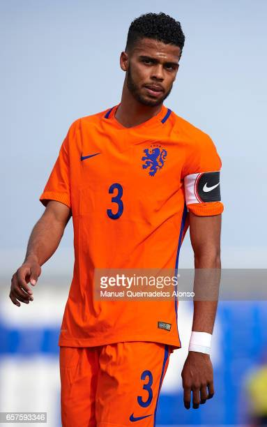 Jeremiah St Juste of Netherlands looks on during the international friendly match between Netherlands U21 and Finland U21 at Pinatar Arena on March...