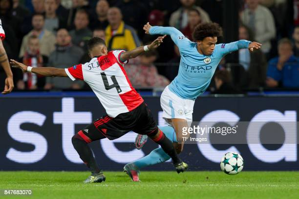 Jeremiah St Juste of Rotterdam and Leroy Sane of Manchester City battle for the ball during the UEFA Champions League match between Feyenoord...