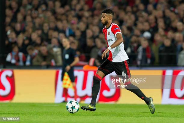 Jeremiah St Juste of Rotterdam controls the ball during the UEFA Champions League match between Feyenoord Rotterdam and Manchester City at Stadion...