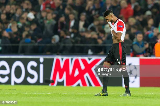 Jeremiah St Juste of Rotterdam looks on during the UEFA Champions League match between Feyenoord Rotterdam and Manchester City at Stadion Feijenoord...