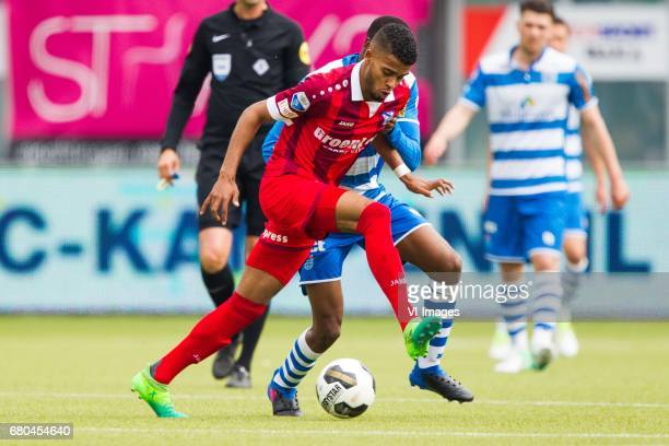 Jeremiah St Juste of sc Heerenveen Queensy Menig of PEC Zwolleduring the Dutch Eredivisie match between PEC Zwolle and sc Heerenveen at the MAC3Park...