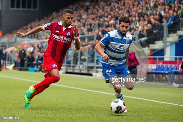 Jeremiah St Juste of sc Heerenveen Youness Mokhtar of PEC Zwolleduring the Dutch Eredivisie match between PEC Zwolle and sc Heerenveen at the...