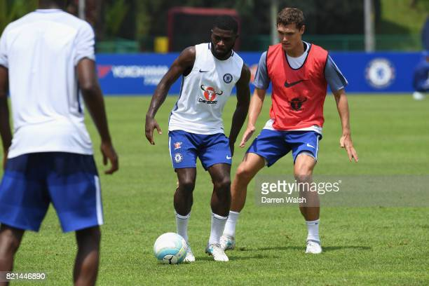 Jeremie Boga and Andreas Christensen of Chelsea during a training session at Singapore American School on July 24 2017 in Singapore