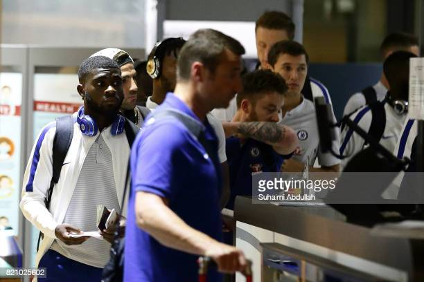 Jeremie Boga and teammates of Chelsea FC arrive at Jet Quay Private Terminal ahead of the International Champions Cup on July 23 2017 in Singapore