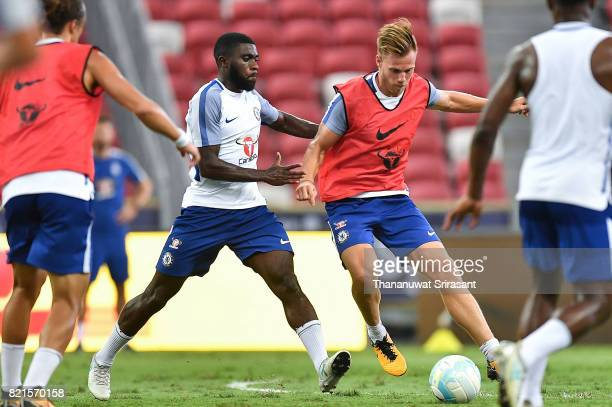 Jeremie Boga competes of Chelsea FC during a Chelsea FC International Champions Cup training session at National Stadium on July 24 2017 in Singapore