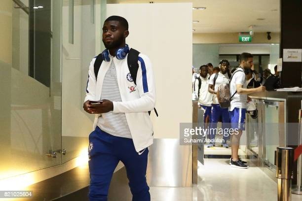 Jeremie Boga of Chelsea FC arrives at Jet Quay Private Terminal ahead of the International Champions Cup on July 23 2017 in Singapore