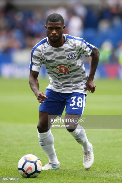 Jeremie Boga of Chelsea warms up prior to the Premier League match between Chelsea and Burnley at Stamford Bridge on August 12 2017 in London England