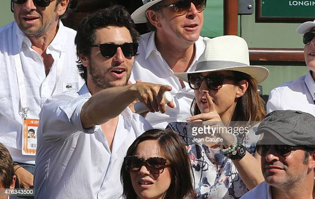 Jeremie Elkaim and Elsa Zylberstein attend the men's final on day 15 of the French Open 2015 at Roland Garros stadium on June 56 2015 in Paris France