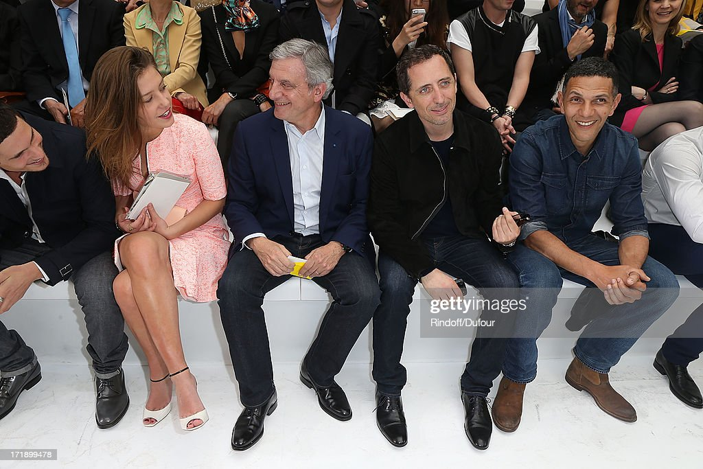 Jeremie Laheurte, Adele Exarcopoulos, Sidney Toledano, Gad Elmaleh and Roschdy Zem attend Dior Homme Menswear Spring/Summer 2014 show as part of Paris Fashion Week on June 29, 2013 in Paris, France.