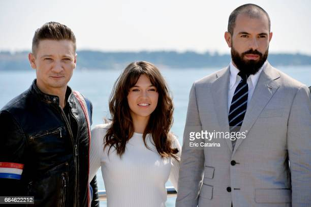 Jeremie Renner Sabrina Bartlett and Tom Cullen attend the 'Knightfall' photocal at La Rotonde on April 4 2017 in Cannes France