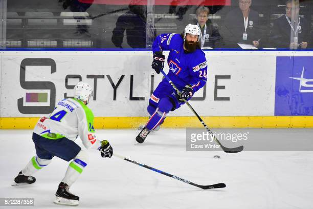 Jeremie Romand of France during the EIHF Ice Hockey Four Nations tournament match between France and Slovenia on November 9 2017 in Cergy France