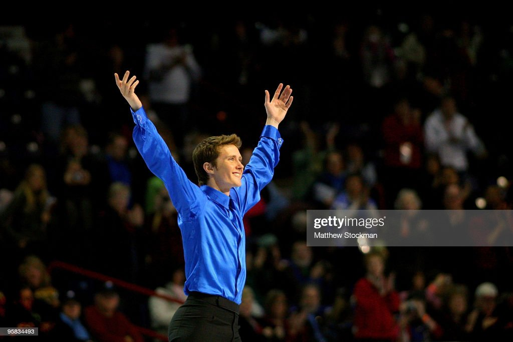 <a gi-track='captionPersonalityLinkClicked' href=/galleries/search?phrase=Jeremy+Abbott&family=editorial&specificpeople=4125520 ng-click='$event.stopPropagation()'>Jeremy Abbott</a> acknowledges the crowd as he takes the ice before the medal ceremony for the men's event during the US Figure Skating Championships at Spokane Arena on January 17, 2010 in Spokane, Washington. Abbott won the event.