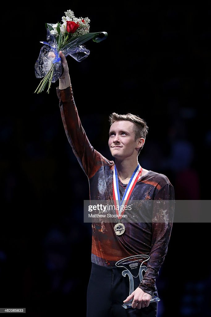 <a gi-track='captionPersonalityLinkClicked' href=/galleries/search?phrase=Jeremy+Abbott&family=editorial&specificpeople=4125520 ng-click='$event.stopPropagation()'>Jeremy Abbott</a> celebrates on the medals podium after winning the men's competition during the Prudential U.S. Figure Skating Championships at TD Garden on January 12, 2014 in Boston, Massachusetts.