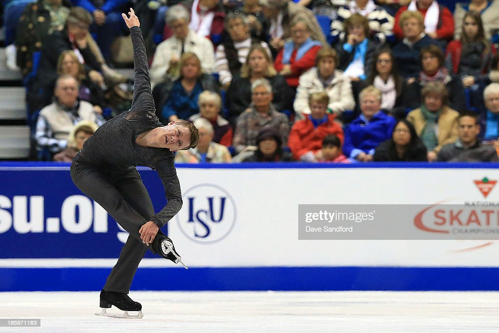 Jeremy Abbott of the United States skates during the men's free program on day two at the ISU GP 2013 Skate Canada International at Harbour Station on October 26, 2013 in Saint John, New Brunswick, Canada.