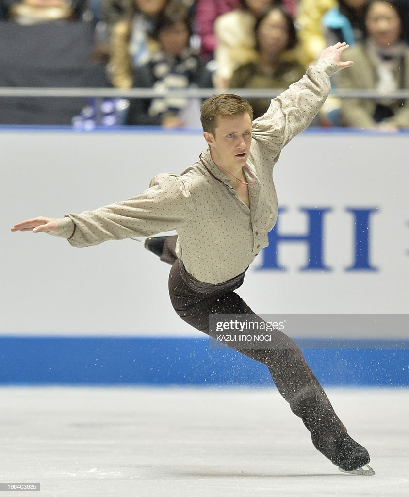 Jeremy Abbott of the US performs in the men's free skating at the World Team Trophy figure skating competition in Tokyo on April 12, 2013.