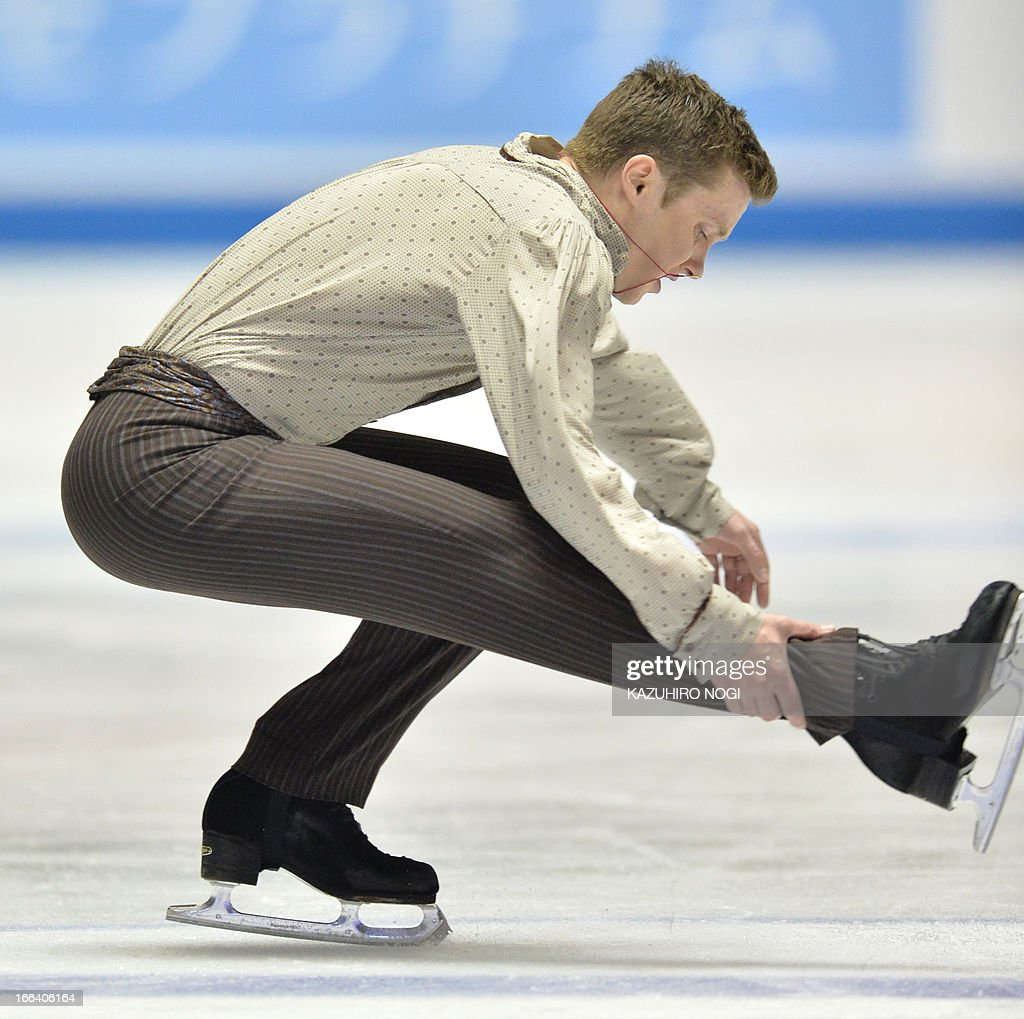 Jeremy Abbott of the US performs in the men's free skating at the World Team Trophy figure skating competition in Tokyo on April 12, 2013. AFP PHOTO / KAZUHIRO NOGI
