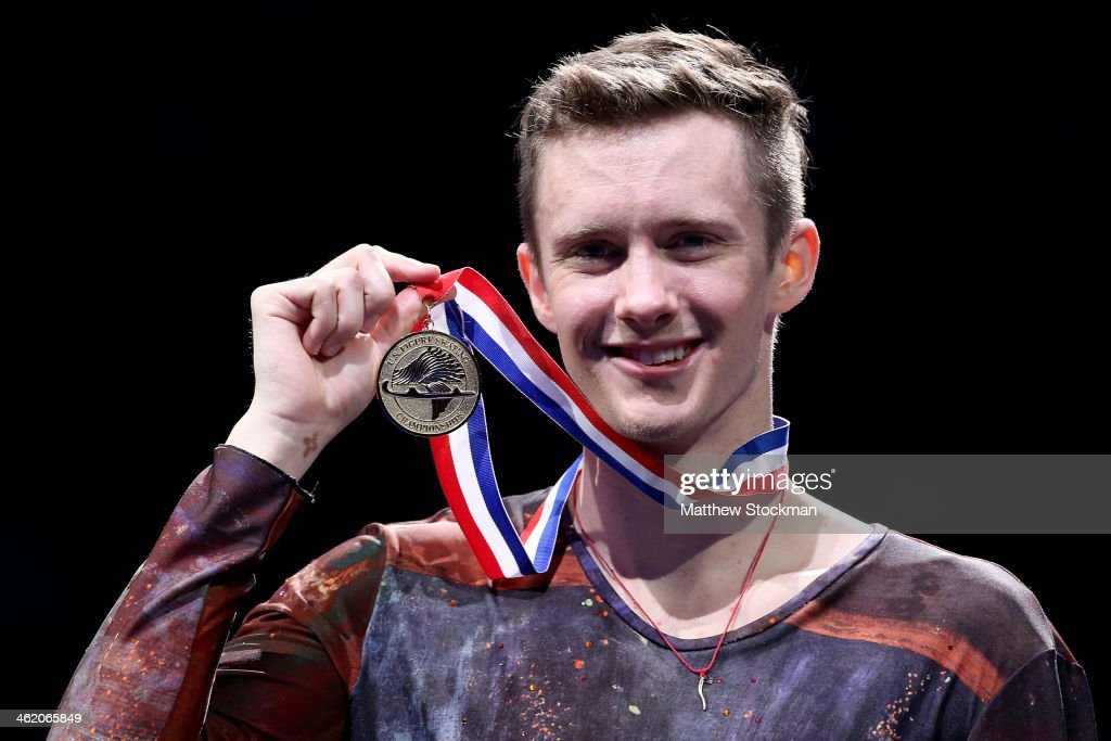 <a gi-track='captionPersonalityLinkClicked' href=/galleries/search?phrase=Jeremy+Abbott&family=editorial&specificpeople=4125520 ng-click='$event.stopPropagation()'>Jeremy Abbott</a> poses for photographers on the medals podium after winning the men's competition during the Prudential U.S. Figure Skating Championships at TD Garden on January 12, 2014 in Boston, Massachusetts.