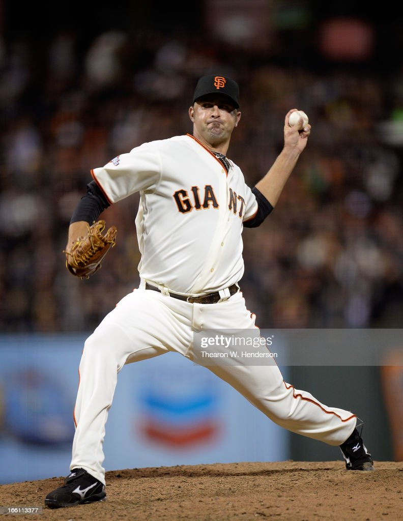 <a gi-track='captionPersonalityLinkClicked' href=/galleries/search?phrase=Jeremy+Affeldt&family=editorial&specificpeople=214238 ng-click='$event.stopPropagation()'>Jeremy Affeldt</a> #41 of the San Francisco Giants pitches against the Colorado Rockies in the eighth inning at AT&T Park on April 8, 2013 in San Francisco, California. The Giants won the game 4-2.