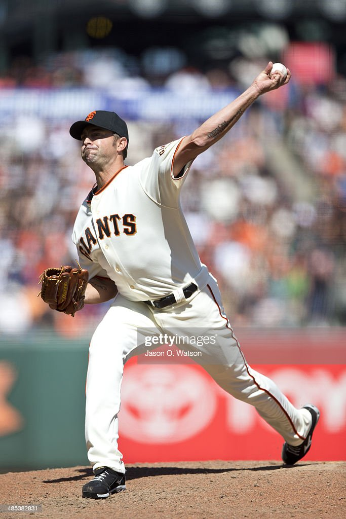<a gi-track='captionPersonalityLinkClicked' href=/galleries/search?phrase=Jeremy+Affeldt&family=editorial&specificpeople=214238 ng-click='$event.stopPropagation()'>Jeremy Affeldt</a> #41 of the San Francisco Giants pitches against the Los Angeles Dodgers during the eighth inning at AT&T Park on April 17, 2014 in San Francisco, California.