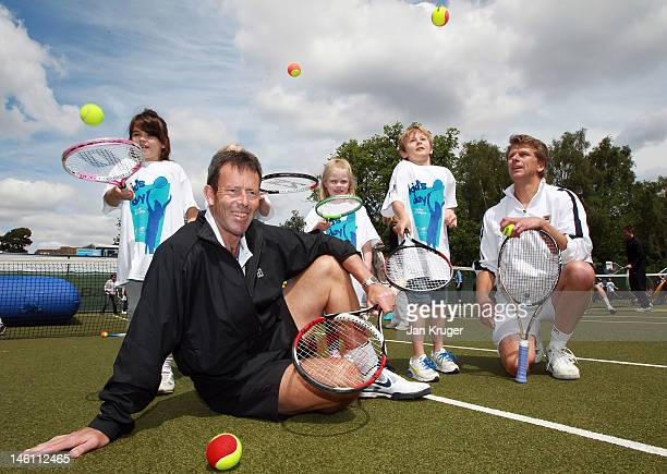 Jeremy Bates and Andrew Castle join local children taking part in a World record attempt playing freestyle tennis ahead of the AEGON Classic at...
