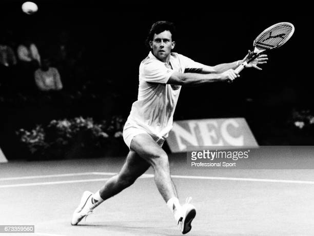 Jeremy Bates of Great Britain in action during the Davis Cup against Sweden in Telford England circa March 1986