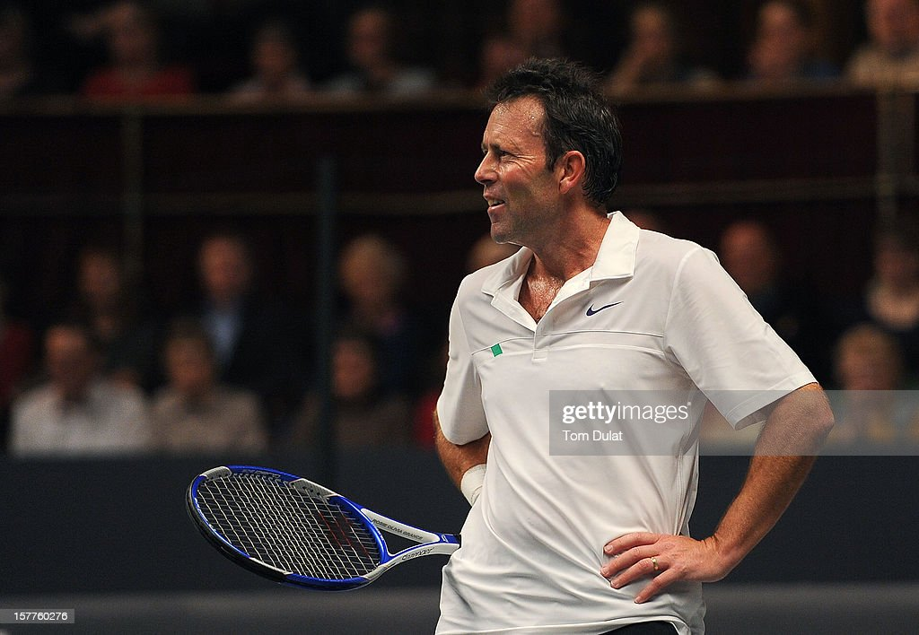 Jeremy Bates of Great Britain looks on during his match against John McEnroe of United States on Day Two of the Statoil Masters Tennis at the Royal Albert Hall on December 6, 2012 in London, England.