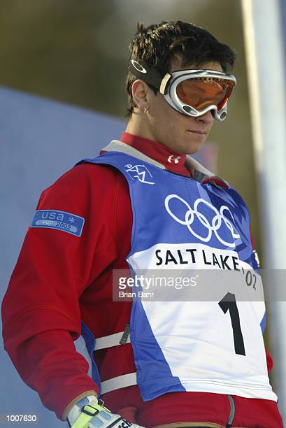 Jeremy Bloom of the USA prepares for his final run in the men's mogul event during the Salt Lake City Winter Olympic Games on February 12 2002 at the...