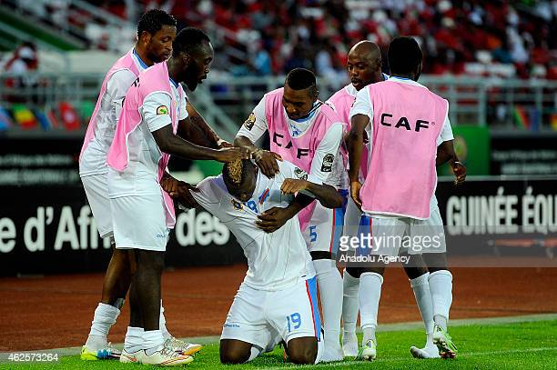 Jeremy Bokila of Democratic Republic of the Congo celebrates after scoring a goal during 2015 African Cup of Nations quarter final football match...