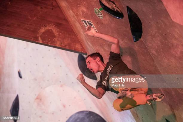 Jeremy Bonder of France celebrates during men finals of bouldering event Studio Bloc Masters 2017 on March 26 2017 in Pfungstadt Germany