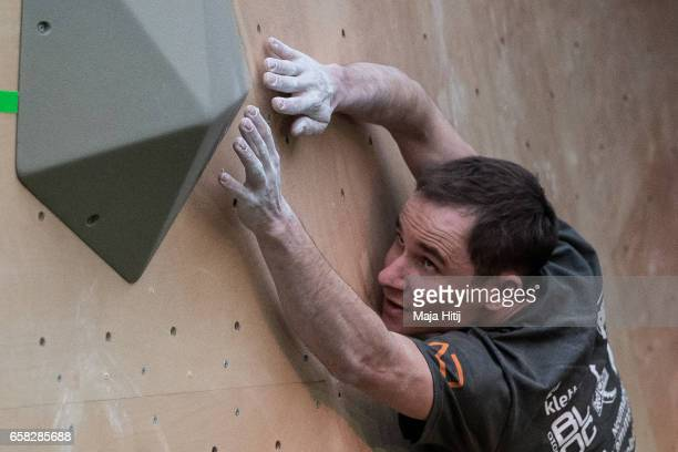 Jeremy Bonder of France during women finals of bouldering event Studio Bloc Masters 2017 on March 26 2017 in Pfungstadt Germany