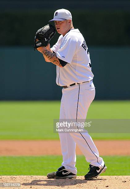Jeremy Bonderman of the Detroit Tigers pitches against the Seattle Mariners while wearing a special hat to honor Independence Day during the game at...