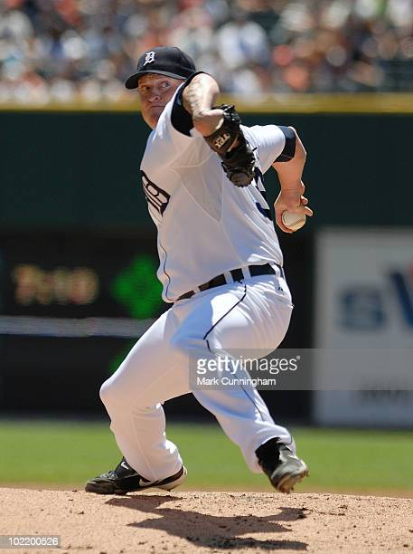 Jeremy Bonderman of the Detroit Tigers pitches against the Washington Nationals during the game at Comerica Park on June 17 2010 in Detroit Michigan...