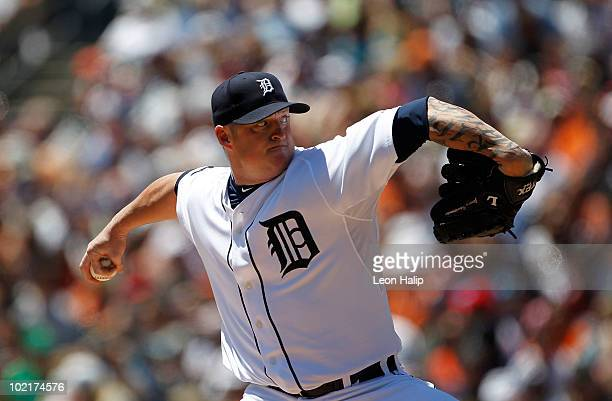 Jeremy Bonderman of the Detroit Tigers pitches in the first inning against the Washington Nationals on June 17 2010 at Comerica Park in Detroit...